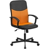 Mid-Back Black Vinyl and Orange Mesh Racing Executive Swivel Office Chair