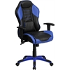 High Back Monterey Blue Vinyl Executive Swivel Office Chair with Inner-Coil Spring Comfort Seat and Blue Base
