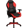 High Back Rossa Corsa Red Vinyl Executive Swivel Office Chair with Inner-Coil Spring Comfort Seat and Red Base