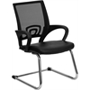 Flash Furniture Black Leather Office Side Chair with Black Mesh Back and Sled Base