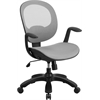 Flash Furniture Mid-Back White Mesh Swivel Task Chair with Seat Slider and Ratchet Back