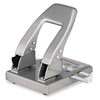 "CARL 40-Sheet Capacity HC-240 Two-Hole Punch, 9/32"" Holes, Paper Guide, Silver"