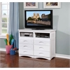 Entertainment Dresser with Six Drawers and Two Component Areas