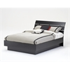 Naia Full Bed with Slats, Black Wood Grain