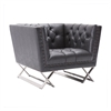 Odyssey Chair in Brushed Steel finish with Vintage Black Pu upholstery and Silver Nail heads