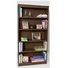 "Contemporary 72""H wood veneer bookcase, Vintage Walnut"