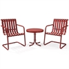 Gracie 3 Piece Metal Outdoor Conversation Seating Set - 2 Chairs And Side Table In Coral Red