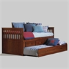 Twin Rake Bed with Trundle and 3 Underbed Drawers in Merlot