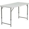 Flash Furniture 24''W x 48''L Height Adjustable Granite White Plastic Folding Table