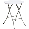 Flash Furniture 24'' Round Granite White Plastic Folding Table