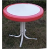 Metal Retro Round Table, Red Coral And White Metal