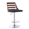 Storm Barstool in Chrome finish with Walnut wood and Black Pu upholstery