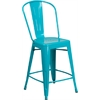 24'' High Crystal Teal-Blue Metal Indoor-Outdoor Counter Height Stool with Back