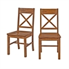 Walker Edison Antique Brown Wood Dining Chairs, Set of 2