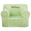 Flash Furniture Personalized Oversized Green Dot Kids Chair with White Piping