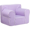 Flash Furniture Oversized Lavender Dot Kids Chair with White Piping