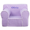 Flash Furniture Personalized Oversized Lavender Dot Kids Chair with White Piping