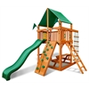 Chateau Tower Swing Set w/ Amber Posts and Deluxe Green Vinyl Canopy