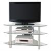 "Walker Edison 44"" Silver Glass Corner TV Stand"