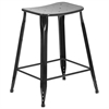 Flash Furniture 24'' High Black Metal Indoor-Outdoor Counter Height Stool