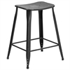Flash Furniture 24'' High Distressed Black Metal Indoor-Outdoor Counter Height Stool
