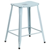 24'' High Distressed Green-Blue Metal Indoor-Outdoor Counter Height Stool
