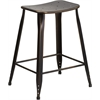 Flash Furniture 24'' High Distressed Copper Metal Indoor-Outdoor Counter Height Stool