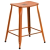 24'' High Distressed Orange Metal Indoor-Outdoor Counter Height Stool