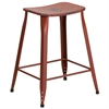 Flash Furniture 24'' High Distressed Kelly Red Metal Indoor-Outdoor Counter Height Stool