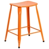 Flash Furniture 24'' High Orange Metal Indoor-Outdoor Counter Height Stool