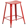 24'' High Red Metal Indoor-Outdoor Counter Height Stool