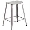 24'' High Silver Metal Indoor-Outdoor Counter Height Stool