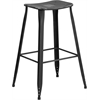 30'' High Distressed Black Metal Indoor-Outdoor Barstool