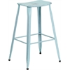 30'' High Distressed Dream Blue Metal Indoor-Outdoor Barstool