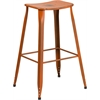 30'' High Distressed Orange Metal Indoor-Outdoor Barstool
