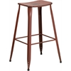 30'' High Distressed Kelly Red Metal Indoor-Outdoor Barstool