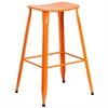 30'' High Orange Metal Indoor-Outdoor Barstool