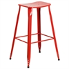 30'' High Red Metal Indoor-Outdoor Barstool
