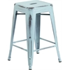 24'' High Backless Distressed Dream Blue Metal Indoor-Outdoor Counter Height Stool
