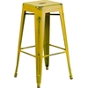 30'' High Backless Distressed Yellow Metal Indoor-Outdoor Barstool