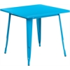 Flash Furniture 31.5'' Square Crystal Blue Metal Indoor-Outdoor Table