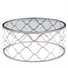 Florence Coffee Table in Brushed Silver finish with Clear Glass Top