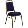 HERCULES Series Trapezoidal Back Stacking Banquet Chair with Navy Patterned Fabric and 2.5'' Thick Seat - Gold Frame