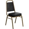 HERCULES Series Trapezoidal Back Stacking Banquet Chair in Black Vinyl - Gold Frame
