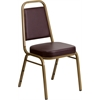 Flash Furniture HERCULES Series Trapezoidal Back Stacking Banquet Chair with Brown Vinyl and 2.5'' Thick Seat - Gold Frame