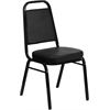 HERCULES Series Trapezoidal Back Stacking Banquet Chair with Black Vinyl and 2.5'' Thick Seat - Black Frame