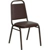 Flash Furniture HERCULES Series Trapezoidal Back Stacking Banquet Chair with Brown Vinyl and 1.5'' Thick Seat - Copper Vein Frame