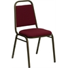 Flash Furniture HERCULES Series Trapezoidal Back Stacking Banquet Chair with Burgundy Fabric and 1.5'' Thick Seat - Gold Vein Frame