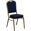 HERCULES Series Crown Back Stacking Banquet Chair with Navy Blue Patterned Fabric and 2.5'' Thick Seat - Gold Frame