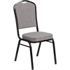 HERCULES Series Crown Back Stacking Banquet Chair with Gray Fabric and 2.5'' Thick Seat - Black Frame